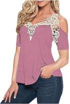 VintageRose Ladies Off Shoulder Lace Crochet Hollow Long Short Sleeve Blouse Tops