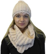 Karen Studio Hat and Infinity Scarf 2-Piece Knit Set, Cable Knit Lurex Intertwined