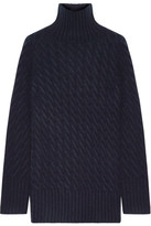 The Row Landi Cable-knit Cashmere Turtleneck Sweater - Midnight blue