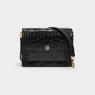 Tory Burch Shoulder Bag Robinson In Black Croc Embossed Leather