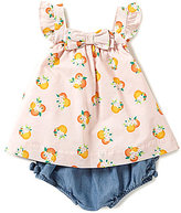 Kate Spade Baby Girls 12-24 Months Printed Flutter-Sleeve Bow Top & Chambray Ruffled Shorts Set