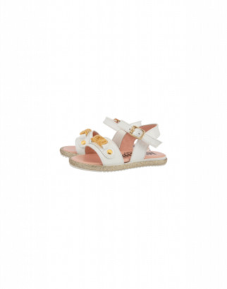 Moschino Leather Sandals With Strap And Logo Unisex White Size 20 It - (4k Us)