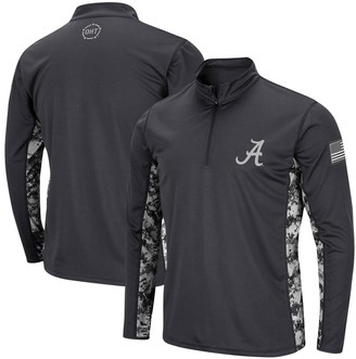 Colosseum Men's Charcoal Alabama Crimson Tide OHT Military Appreciation Digi Camo Quarter-Zip Jacket