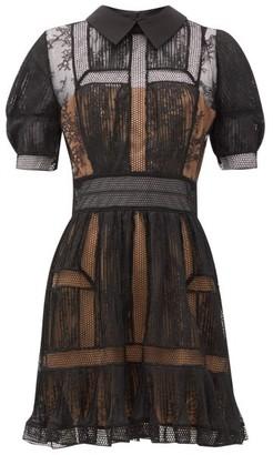 Self-Portrait Point-collar Lace-panelled Mini Dress - Womens - Black