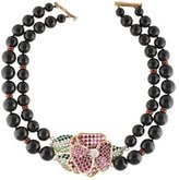 Valentino Multistrand Bead & Crystal Floral Necklace