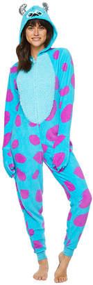 Asstd National Brand Sully Womens Juniors Fleece One Piece Pajama Long Sleeve Hooded Neck
