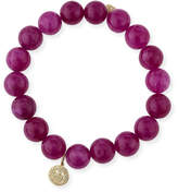 Sydney Evan 10mm Berry Jade Beaded Bracelet with Diamond Happy Face Charm