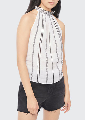Frame Embroidered Ruffle-Trim Halter Top