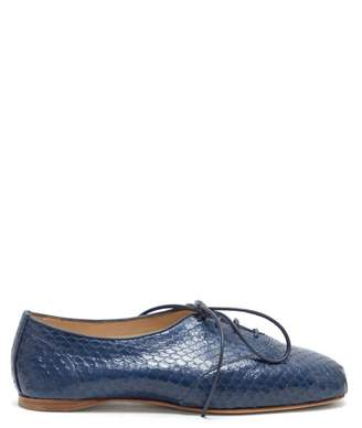 Gabriela Hearst Maya Square-toe Elaphe Oxford Shoes - Womens - Navy