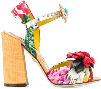Dolce & Gabbana Embroidered Silk Sandals