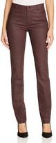 Lafayette 148 New York Thompson Herringbone Print Waxed Slim Jeans in Cabernet