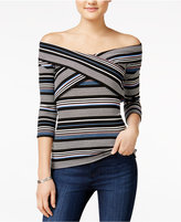 Amy Byer Juniors' Off-The-Shoulder Crisscross Top