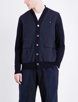 Undercover Contrast-panel cotton and wool cardigan