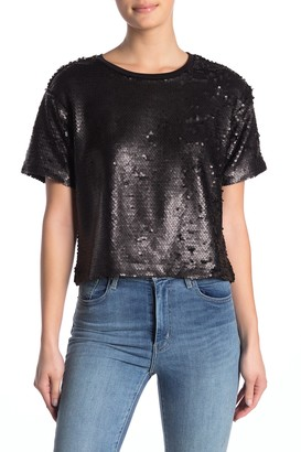 Socialite Cropped Sequin T-Shirt