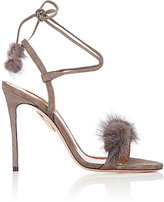Aquazzura Women's Wild Russian Suede Sandals-GREY
