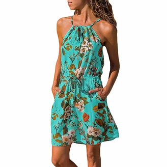 Toamen Women's Dress Toamen Summer Dress Sale Women's Halter Neck Floral Print Sleeveless Casual Beach Party A-line Swing Mini Dress with Pocket(Blue 14)