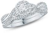Zales 1/2 CT. T.W. Diamond Frame Twist Bridal Set in 10K White Gold