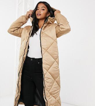 Brave Soul Petite jaz satin longline puffer jacket
