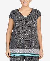 Ellen Tracy Plus Size Printed Ruffle-Sleeve Pajama Top