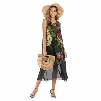 SotRong Women's Summer Boho Dresses Loose T-Shirt Casual Maxi Dress Floral Print Loose Dress M