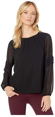 Vince Camuto Long Sleeve Chiffon Blouse w/ Pleated Sleeve Detail (Rich Black) Women's Clothing