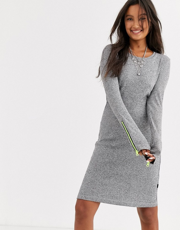 Noisy May knitted jumper dress with contrast zip in grey