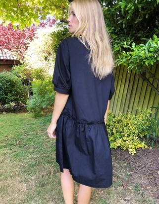 Monki Robin poplin cotton smock dress in black