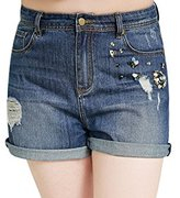 MSSHE Women's Mid Waist Beaded Denim Shorts Jeans Plus