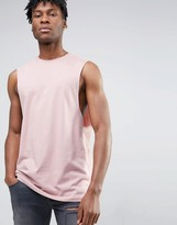 Asos Longline Sleeveless T-Shirt With Dropped Armhole In Pink