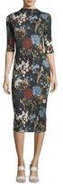 Alice + Olivia Delora Floral-Print Fitted Mock-Neck Midi Dress