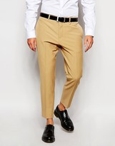 Asos Slim Fit Cropped Smart Trousers In Camel - Brown