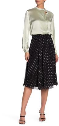 Vince Mixed Media Dot Knee-Length Skirt