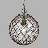 Round Rope-Wrapped Bubble Glass Burnett Pendant Lamp
