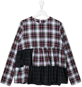 Il Gufo TEEN tartan cotton blouse