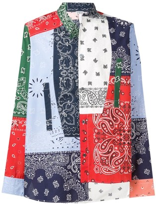 Loewe asymmetric patchwork print shirt