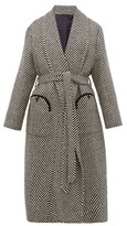 BLAZÉ MILANO Whistler Herringbone Wool Coat - Womens - Black White