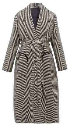 BLAZÉ MILANO Whistler Herringbone Wool Coat - Black White