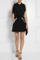 Christopher Kane Metallic PVC-trimmed wool-crepe mini skirt