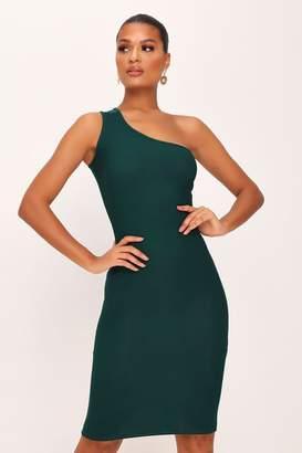 I SAW IT FIRST Emerald Green One Shoulder Midi Dress