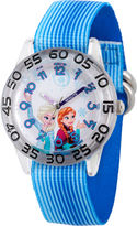 Disney Girls Frozen Elsa And Anna Blue Nylon Time Teacher Strap Watches
