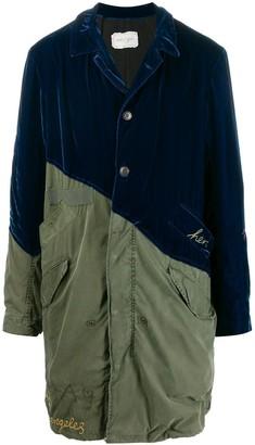 Greg Lauren Velvet Contrast Military Coat