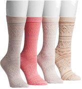 Muk Luks Women's Microfiber Crew 4-Pair Sock Pack