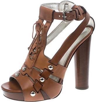 Dolce & Gabbana Brown Leather Stud Detail Ankle Strap Platform Sandals Size 38