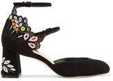 Sophia Webster Liliana Embroidered Laser-cut Suede Mary Jane Pumps - Black