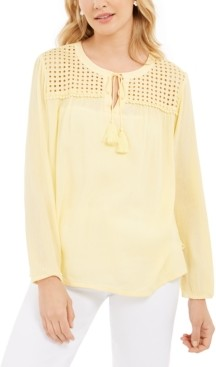 Charter Club Tassel-Tie Eyelet Linen Top, Created for Macy's