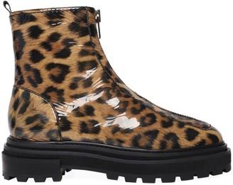 Schutz Maryele Leopard-Print Patent Leather Combat Boots