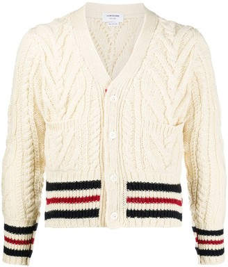 Thom Browne Stripe-Trim Cable-Knit Cardigan