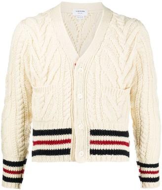 Thom Browne Stripe-Trim Cable-Knit Cardigan