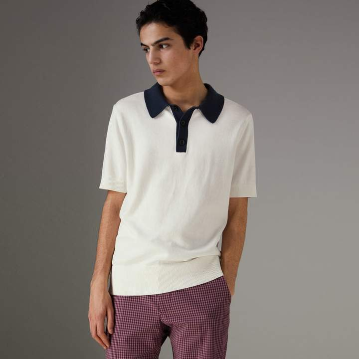 Burberry Two-tone Knitted Cotton Polo Shirt