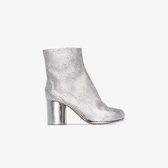 Maison Margiela Silver Tabi 80 Leather Ankle Boots
